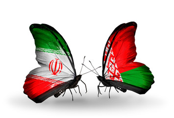 Two butterflies with flags Iran and Belarus