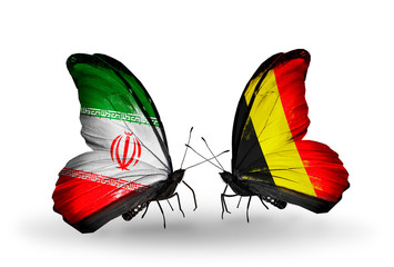 Two butterflies with flags Iran and Belgium