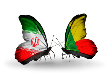 Two butterflies with flags Iran and Benin