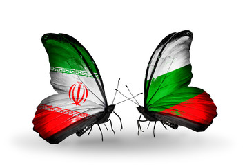 Two butterflies with flags Iran and Bulgaria