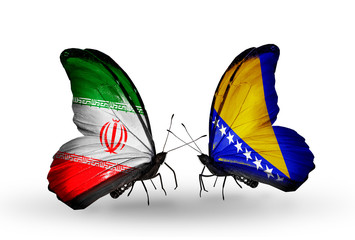 Two butterflies with flags Iran and Bosnia and Herzegovina