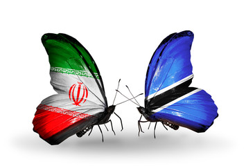 Two butterflies with flags Iran and Botswana