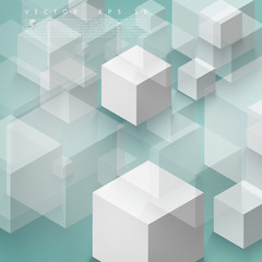 Vector Abstract geometric shape from gray cubes.
