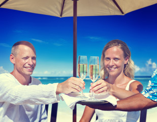 Couple Celebration Beach Summer Champagne Concept