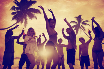 People Celebration Beach Party Summer Holiday Concept