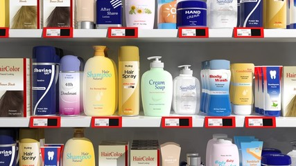 Supermarket shelves with personal care products