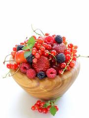 berry assortment - raspberries, blackberries, strawberries
