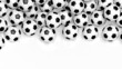 canvas print picture - Pile of classic soccer balls isolated on white with copy-space