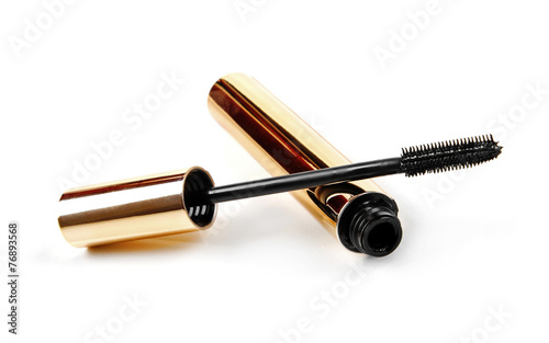 Leinwandbild Motiv black mascara wand and tube isolated on white