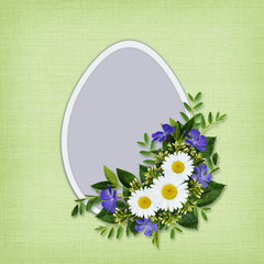 Wild flowers bouquet and Easter egg