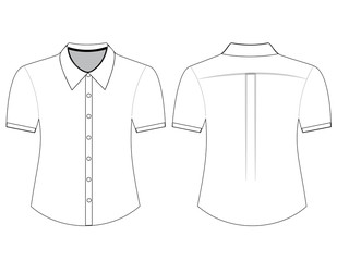 Blank shirt with short sleeves template for men
