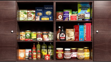 Wooden kitchen cabinet full of food products
