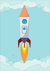 The rocket flight in the blue clear sky, vector illustration