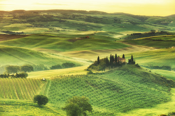 rural house on the hill among vineyards, San Quirico d'Orcia