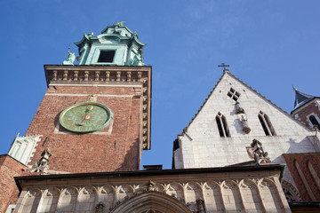 Tower with hours in the castle Wawel, Krakow