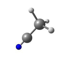 Acetonitrile molecule isolated on white