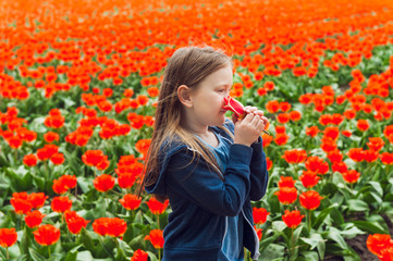 Adorable little girl playing with flowers on a tulip farm