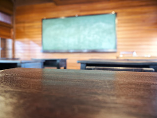 Top of table with blurred Blackboard Education background