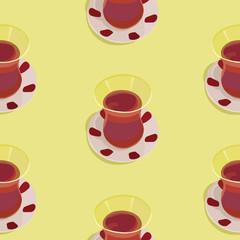 Seamless pattern with turkish tea
