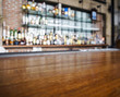 Top wooden table with Bar Blurred Background - 76895709