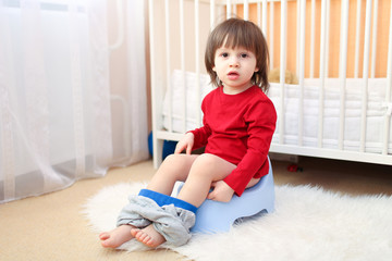 lovely toddler sitting on potty