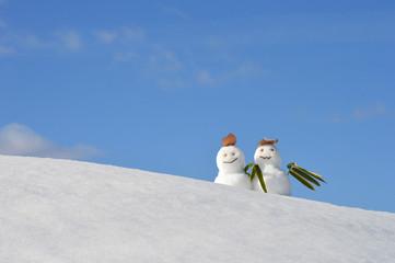 雪だるまのある風景