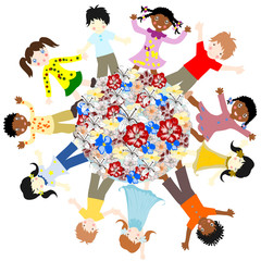 Happy children of different races around the world blossoms on a