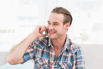 Portrait of smiling man on the phone