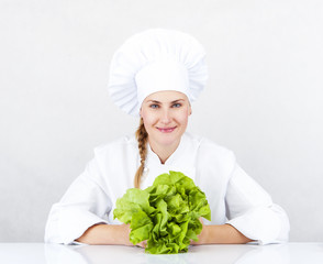 beautiful young chef woman prepare and decorating tasty food veg