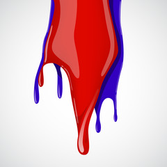 Colorful paint dripping on white background.