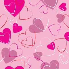 Hearts pink seamless pattern - wrapping paper