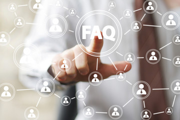 Business button FAQ sign connection web communication