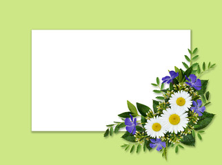 Wild flowers bouquet and card