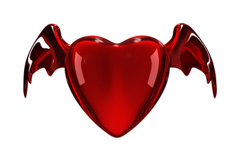 Glossy red heart with wings