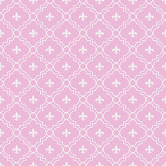 Pink and White Fleur-De-Lis Pattern Textured Fabric Background