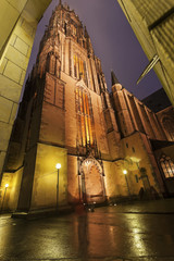 Rainy evening by Frankfurt Cathedral
