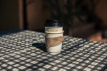 Empty paper cups on table