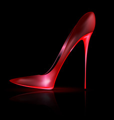 dark and red shoe