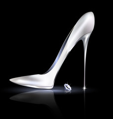 silver shoe and crystal