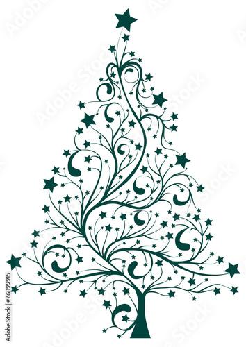 Naklejka Artistic decorated Christmas pine tree floral vector