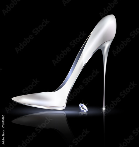 silver shoe and crystal - 76899980