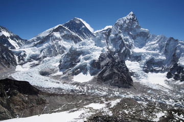 Mount Everest, Nuptse and the Khumbu Icefall in Nepal