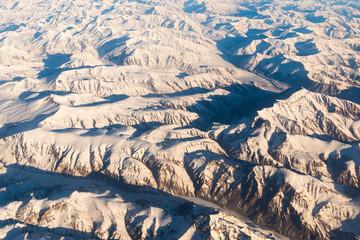 Mountain range in Leh Ladakh from plane view, India