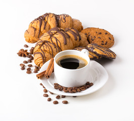 Breakfast with coffee, cookies and croissants on table
