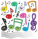 Fototapety Cartoon music notes theme image 1