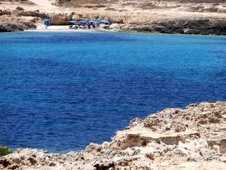 island of Lampedusa in Italy and the blue sea