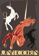 Set of different unicorns