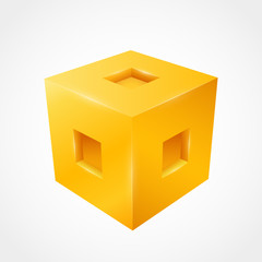 Three-dimensional cube. Clean vector illustration
