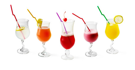 Colloection of Coctails with tubule on white background