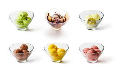Colloection of Ice creams on white background